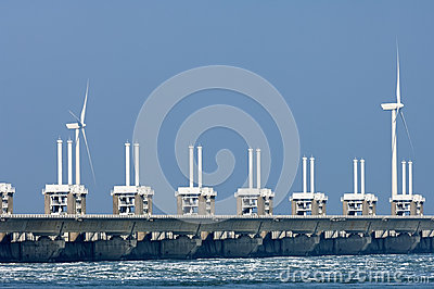 Eastern Scheldt Storm Surge Barrier, Netherlands Stock Photo.