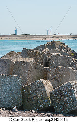 Stock Photography of Storm surge barrier Oosterschelde nearby.