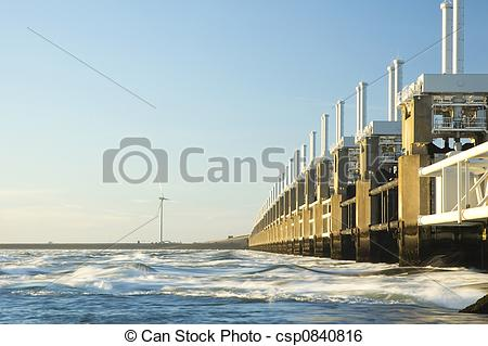Stock Image of Storm surge barrier in Zeeland, Holland. Build.