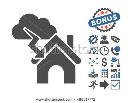 Storm Building Icon Bonus Elements Vector Stock Vector 487905232.