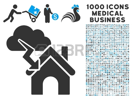 Storm Building Icon With 1000 Medical Commerce Gray And Blue.
