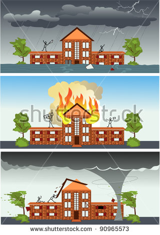 Three Images With The Same House And People Struggling Against.