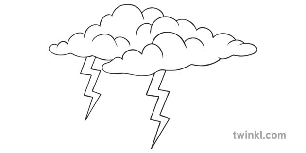 Storm Cloud Black and White Illustration.