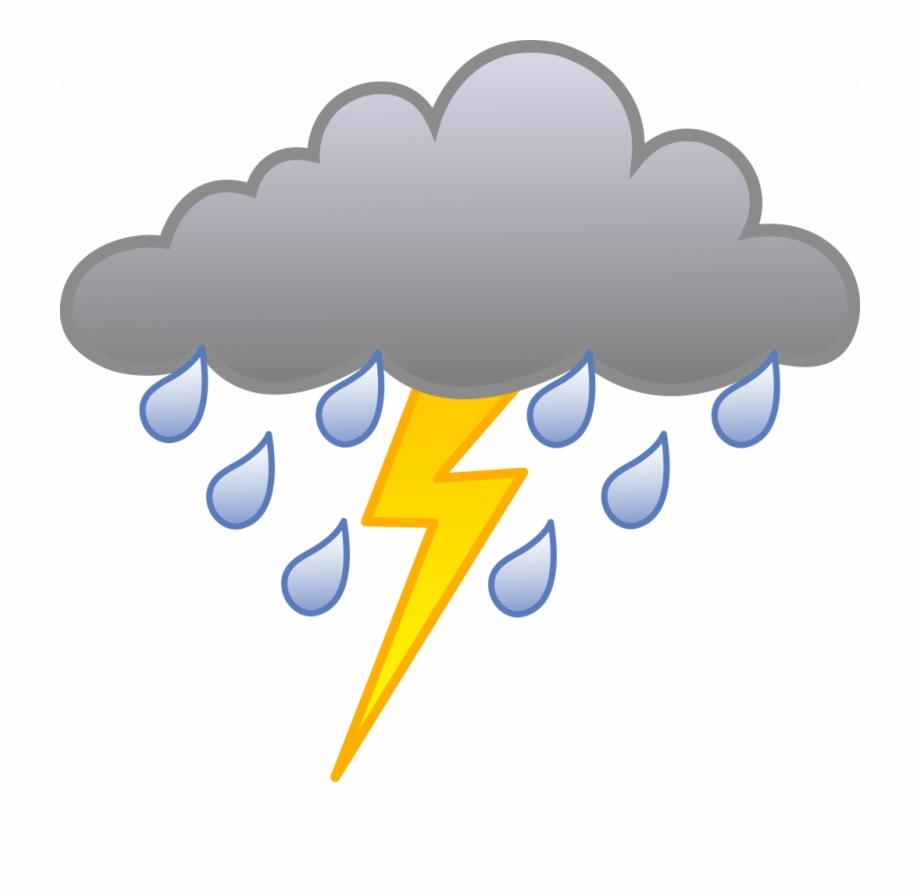 Unique Storm Clipart Rain Cloud With Lightning Bolt.