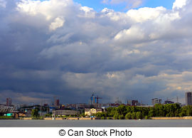 Picture of Downtown Tucson in Arizona with storm clouds.