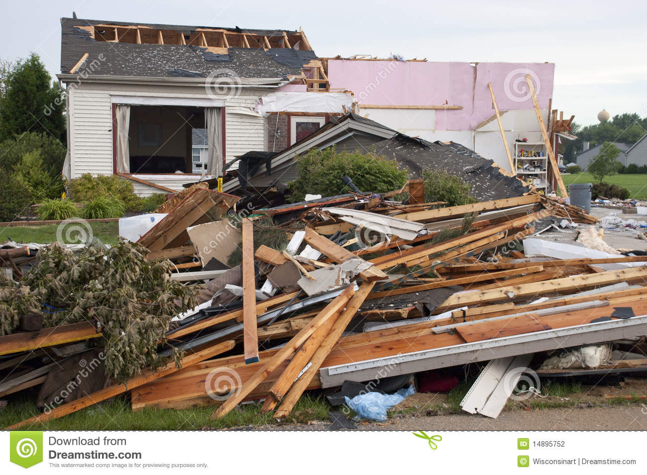 Tornado Storm Damage House Home Destroyed By Wind Royalty Free.
