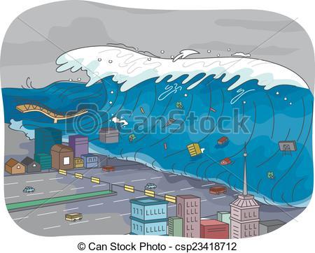 Vector Clip Art of Tsunami.