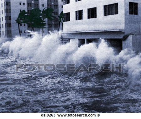 and storm surge waves blow.