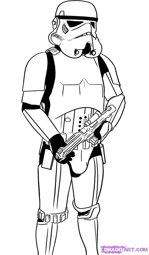 Black and white drawing of the Stormtrooper clipart free image.