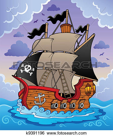 Clip Art of Pirate ship in stormy sea k9391196.