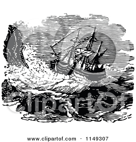 Clipart of a Retro Vintage Black and White Ship on a Stormy Sea.