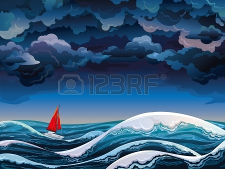 Night Seascape With Red Sailboat And Stormy Sky Royalty Free.