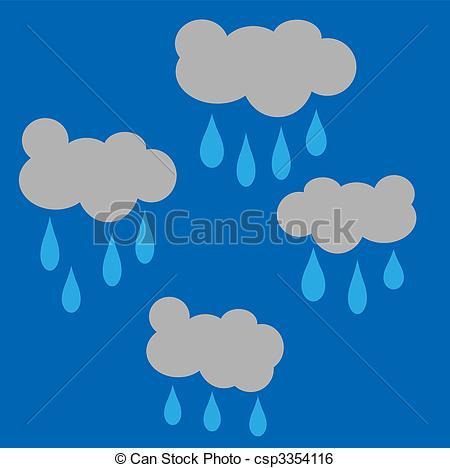 Clouds cartoon gray raining drop water rain stormy Illustrations.