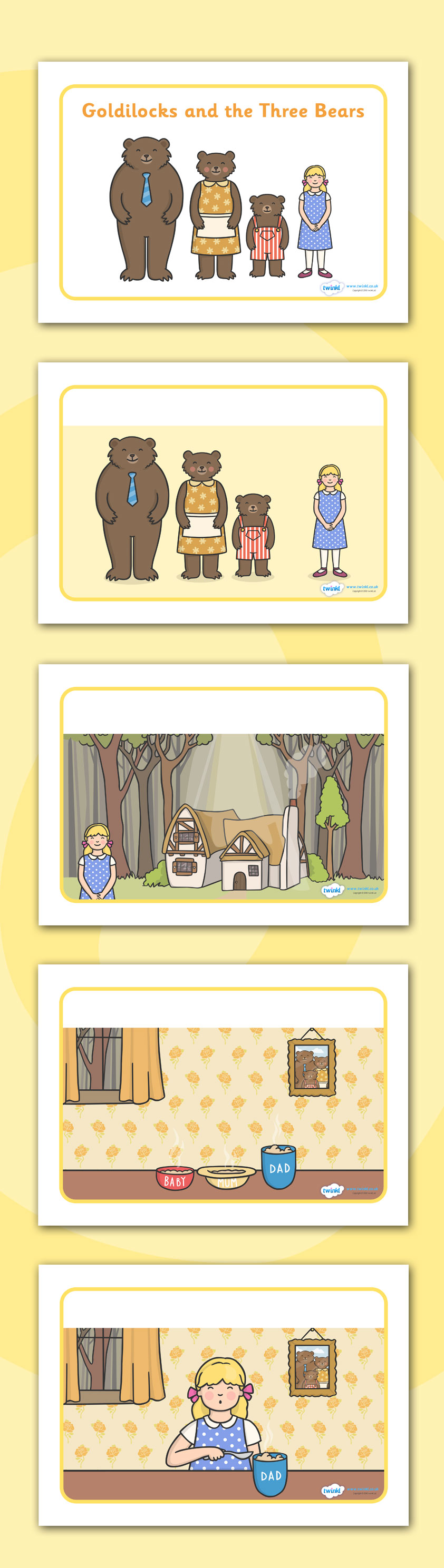 Twinkl Resources >> Goldilocks and the Three Bears Story.