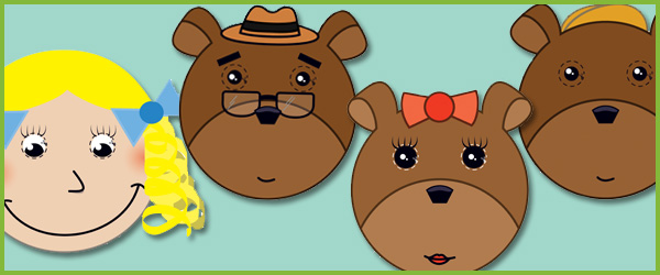 goldilocks the three bears clipart.