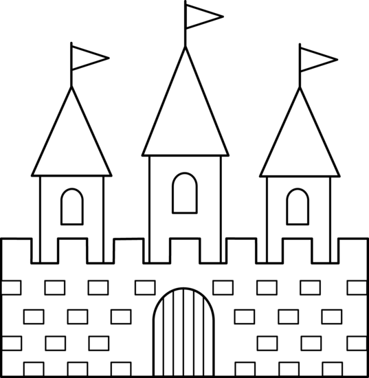 Colorable Castle Line Art.
