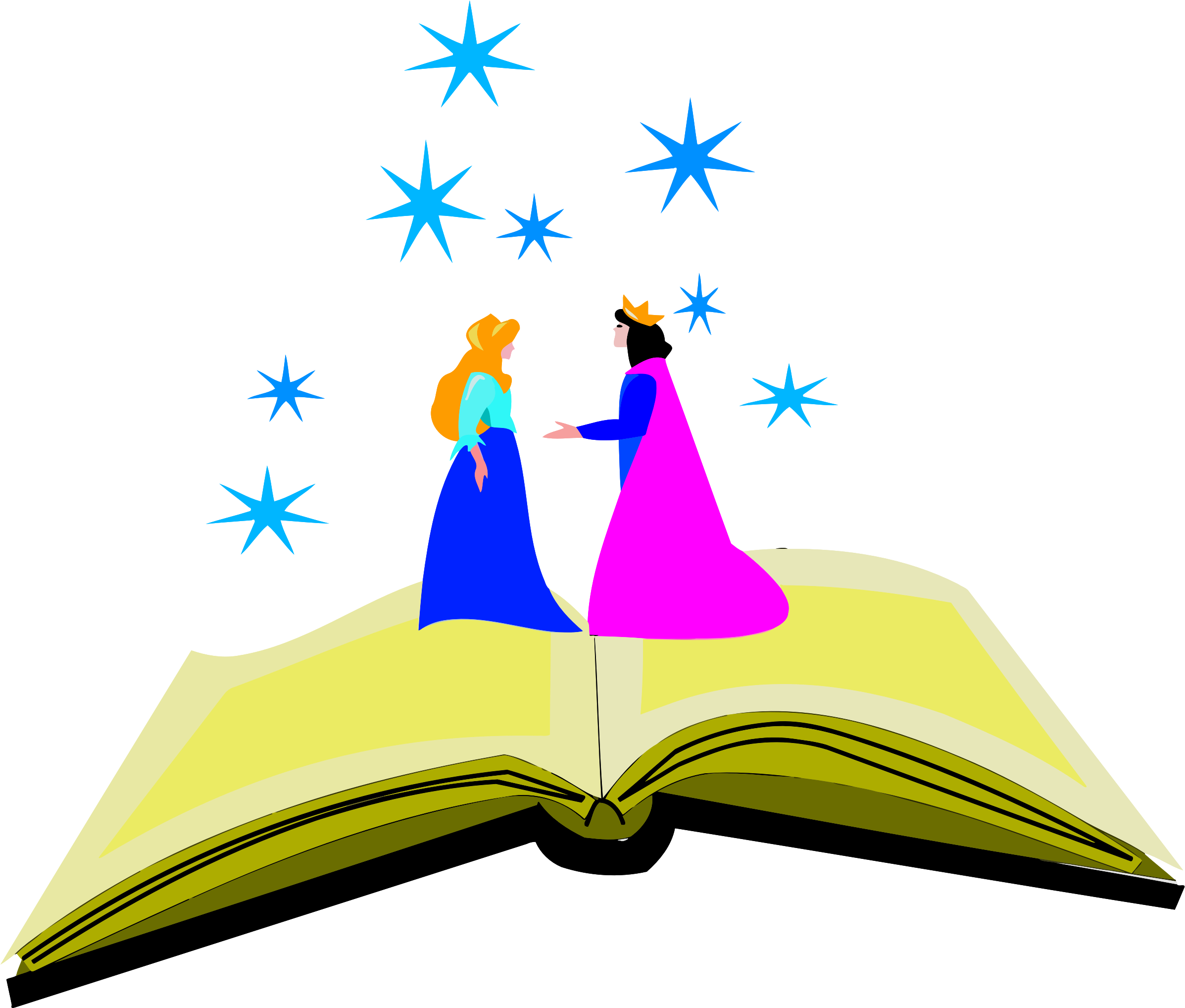 Royal storybook couple in fantasyland vector clipart image.