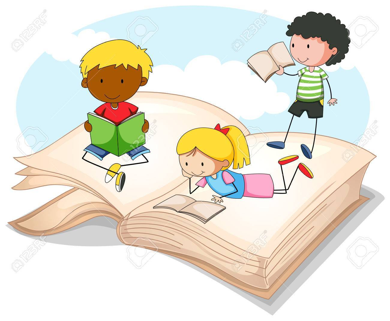 Three kids reading storybook » Clipart Portal.