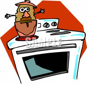 Potato In a Pot on a Stove Clipart Picture.