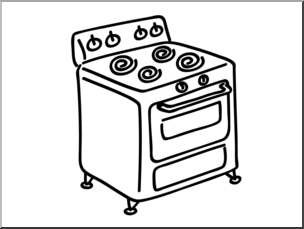 Clip Art: Basic Words: Stove B&W Unlabeled I abcteach.com.