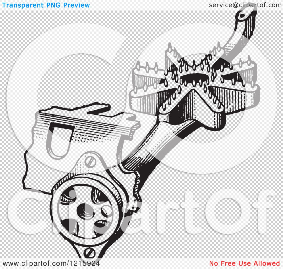 Vintage Clipart of a Retro Antique Gas Stove Pipe Mixer Device in.