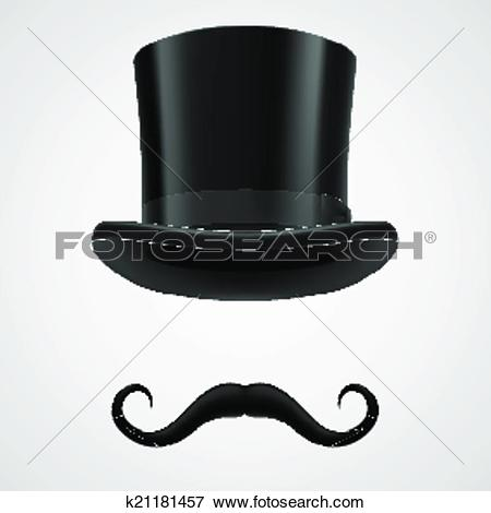 Clip Art of moustaches and stovepipe hat magician k21181457.