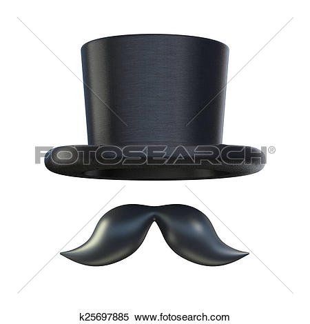 Stock Illustration of Retro moustaches and stovepipe top hat.