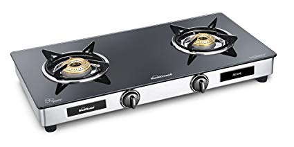 Sunflame GT Regal Stainless Steel 2 Burner Gas Stove, Black.