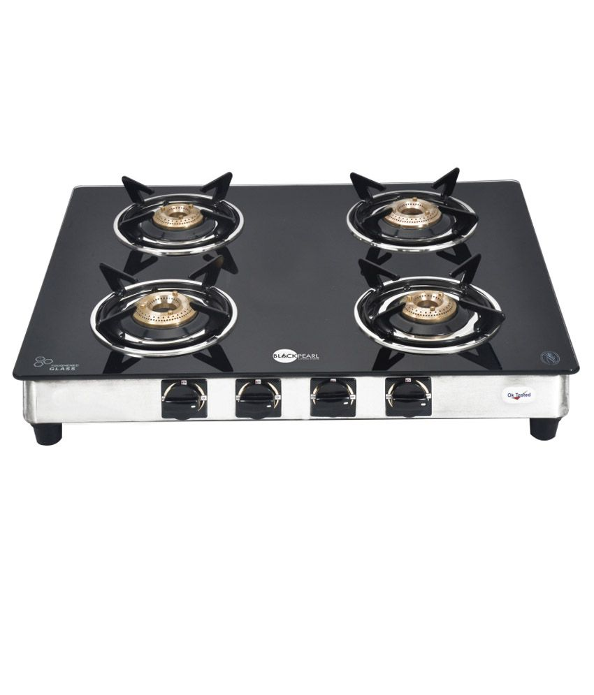 Black Pearl PNG Four Burner Glass Top Gas Stove.