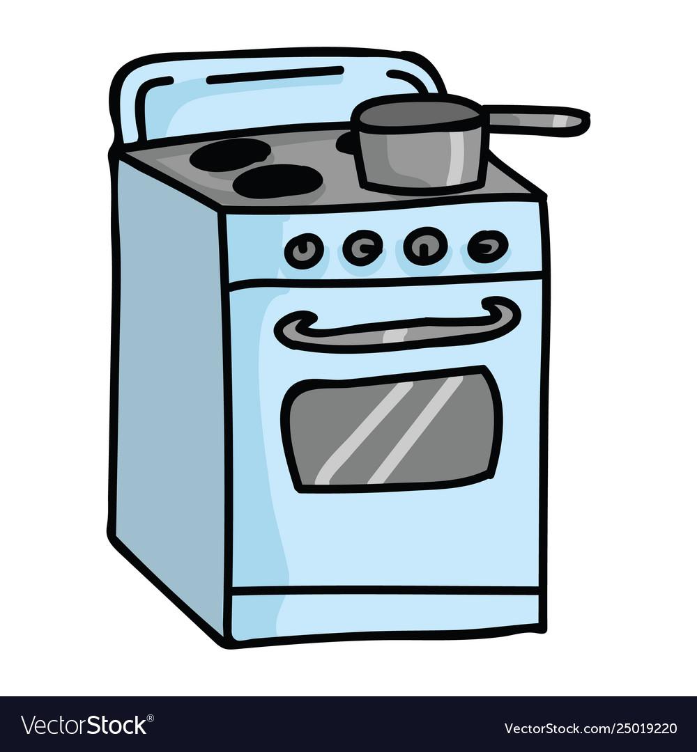 Cute vintage stove top cartoon.