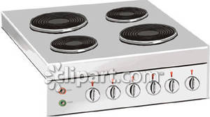 A Stove Top Or Range with Four Burners Royalty Free Clipart.