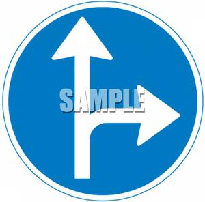 Right Turn Or Straight Ahead Road Sign.