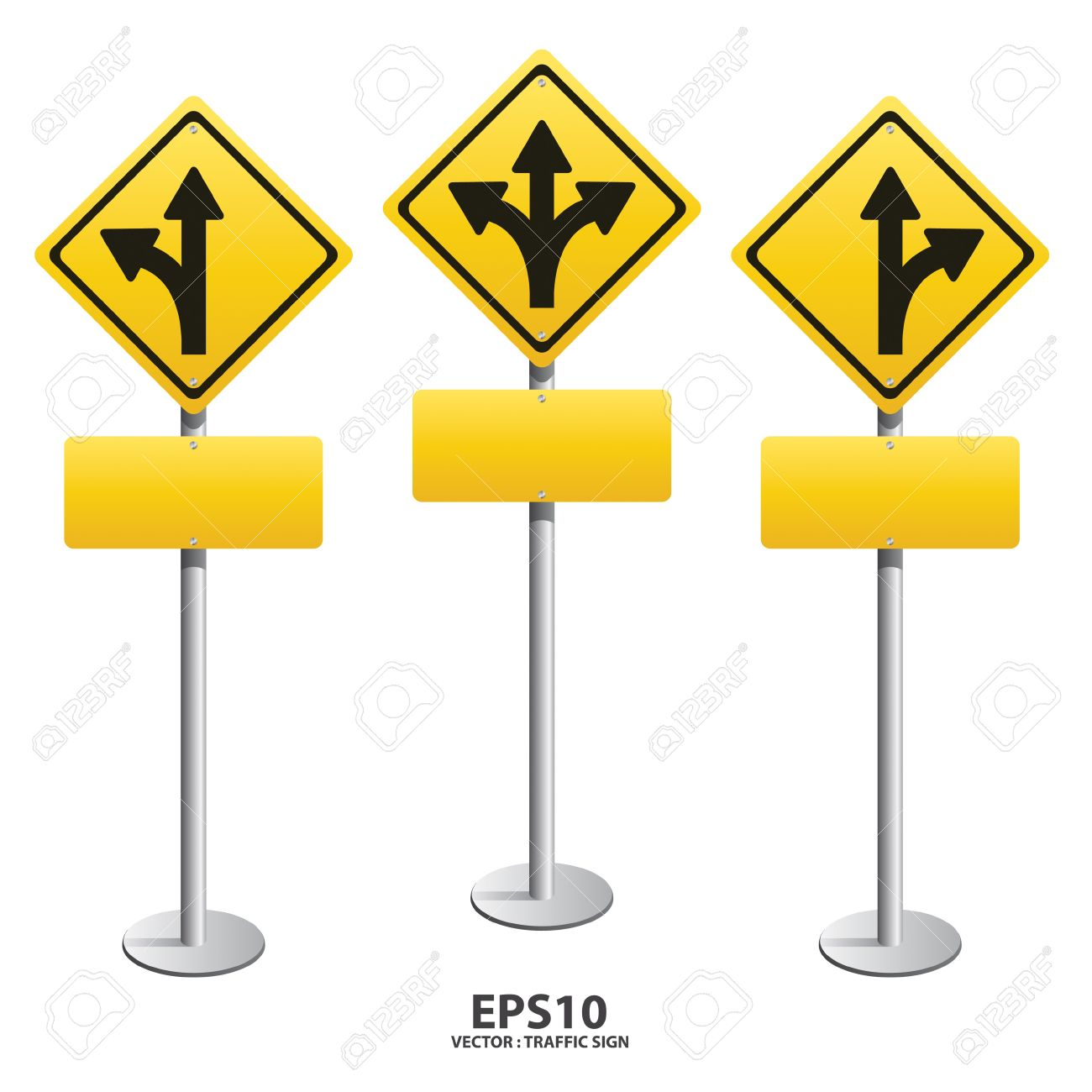 Vector Signs Straight, Turn Left, Turn Right Royalty Free Cliparts.