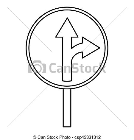 Clipart of Straight or right turn ahead traffic sign icon. Outline.