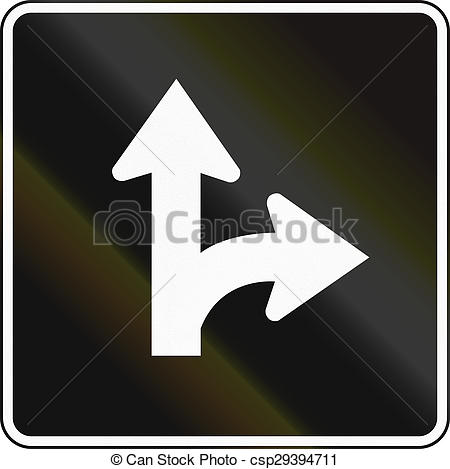 Clipart of Right Turn And Straight Lane In Canada.