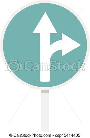 Vector Clipart of Blue straight or right turn ahead road sign icon.