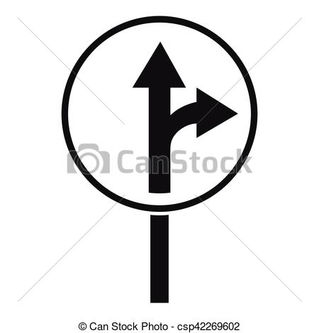 Vector Clipart of Straight or right turn ahead road sign icon.