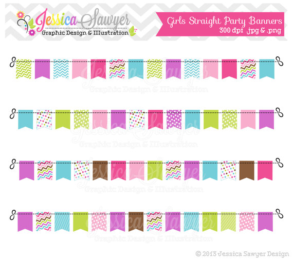 INSTANT DOWNLOAD, girls straight bunting banners, banner clipart.