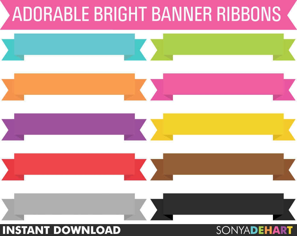 80% OFF Sale Clipart Banner Ribbons Digital Scrapbook.