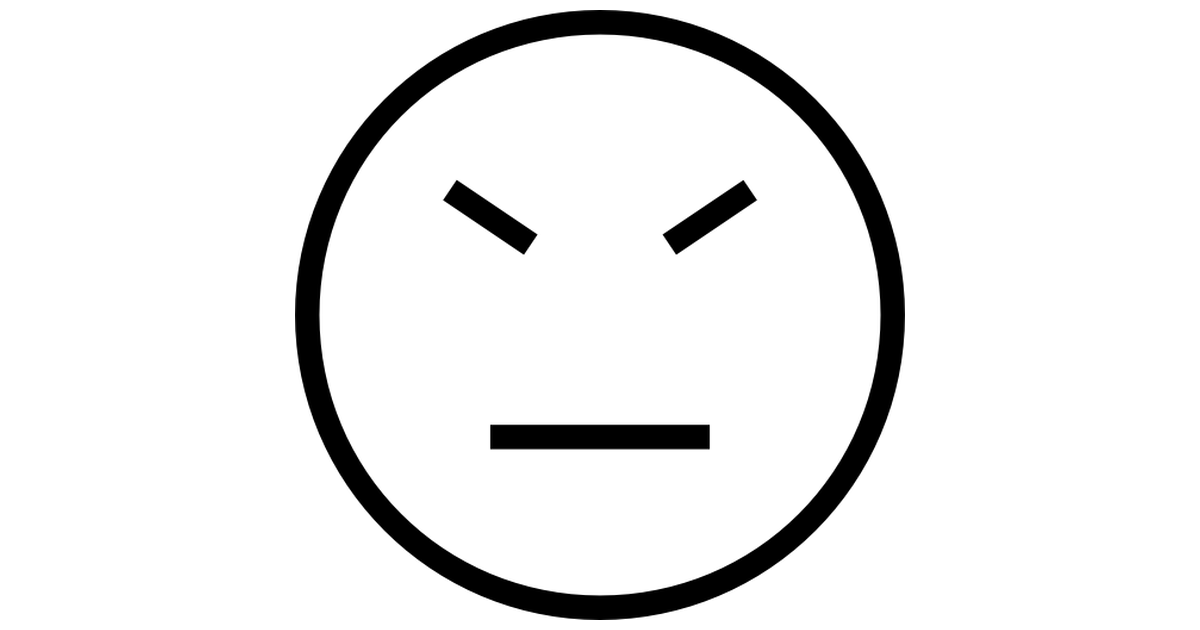 Stubborn face emoticon stroke symbol of straight lines of.