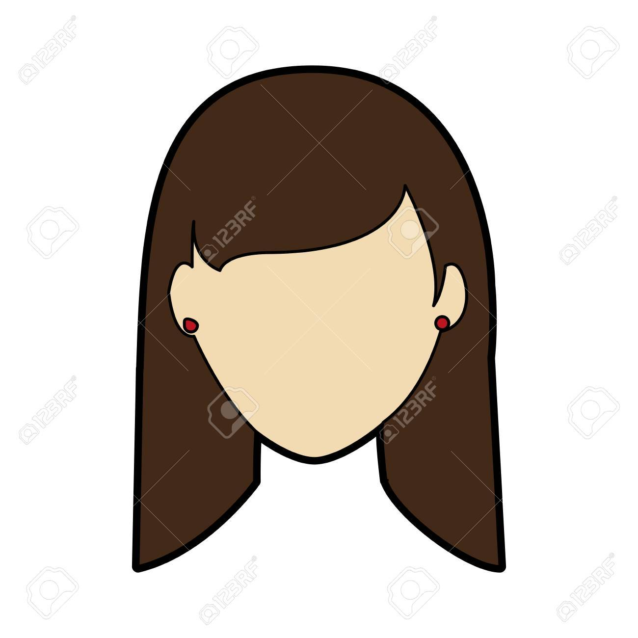 Faceless woman with long straight hair icon image » Clipart.