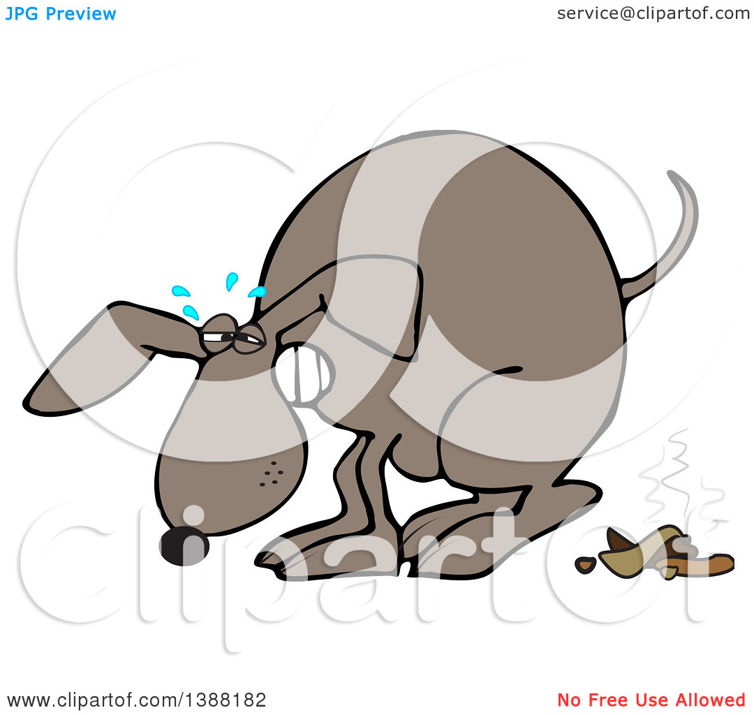 Clipart of a Cartoon Brown Dog Straining and Pooping.