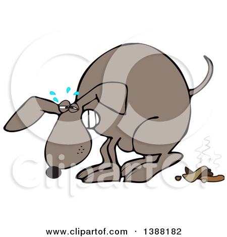 Clipart of a Cartoon Constipated Brown Dog Straining and Pooping.