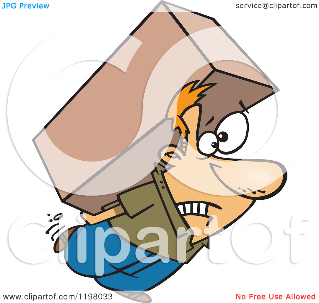 Cartoon of a Strained Caucasian Man Carrying a Heavy Big Box on.