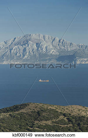 Stock Photograph of Spain, Tarifa, View from Strait of Gibraltar.