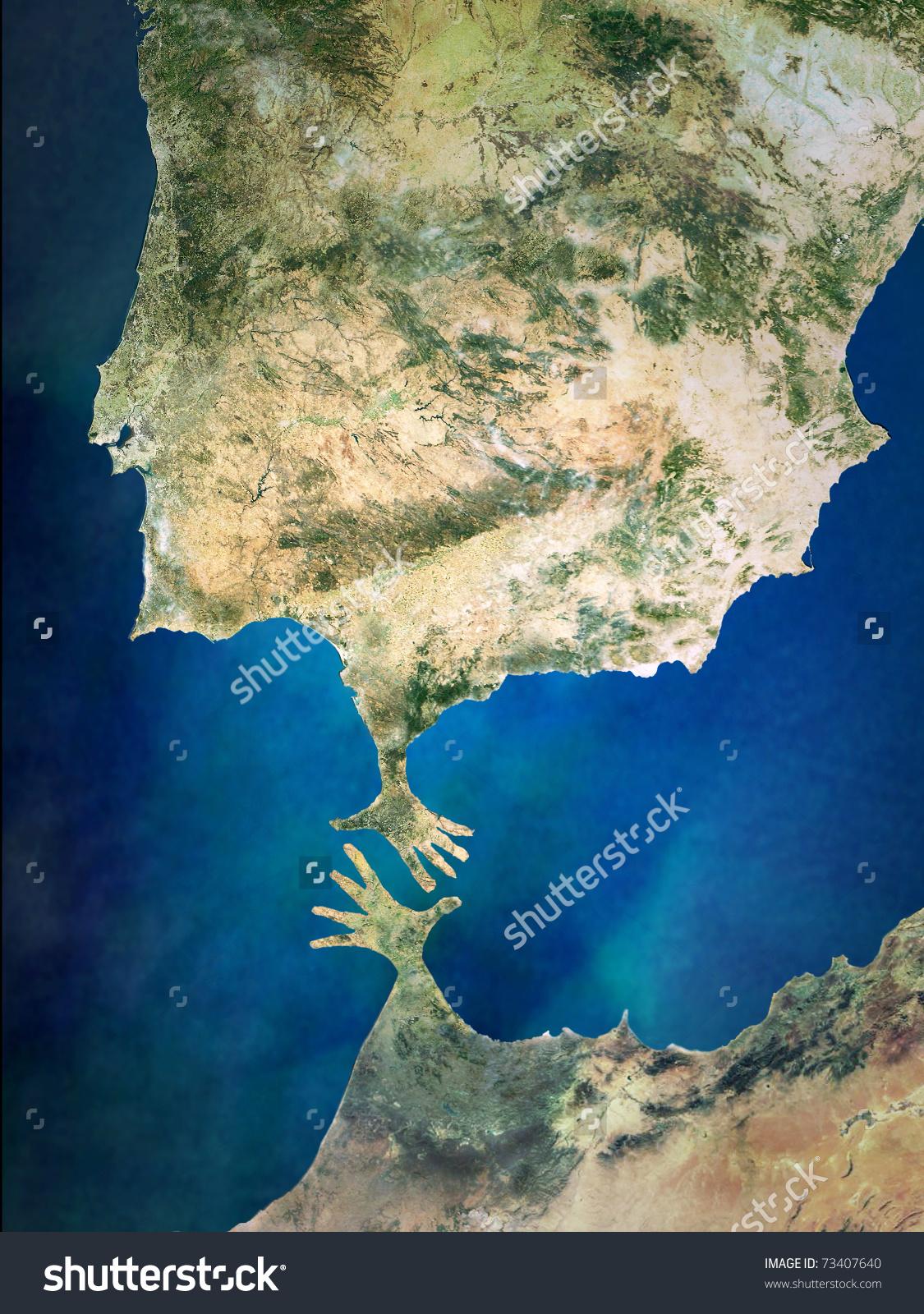Hands Strait Gibraltar Stock Photo 73407640.