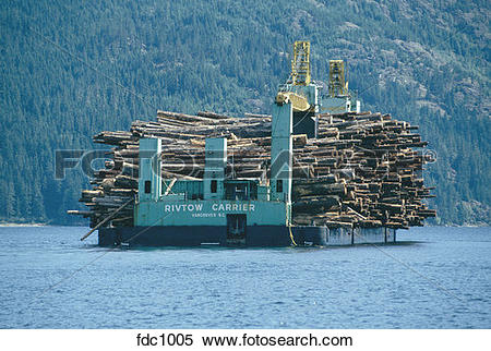 Stock Image of Barge with cargo of logs sailing in Johnstone.