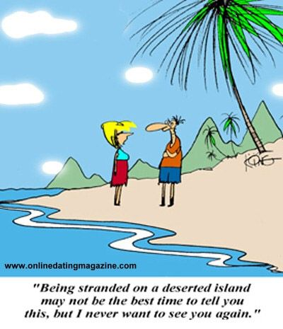 Stranded on a Desert Island Dating Cartoon.