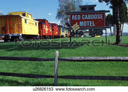Stock Photo of motel, hotel, caboose, Strasburg, Lancaster County.