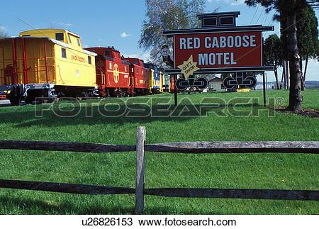 Stock Photo of motel, hotel, caboose, Strasburg, Lancaster County.